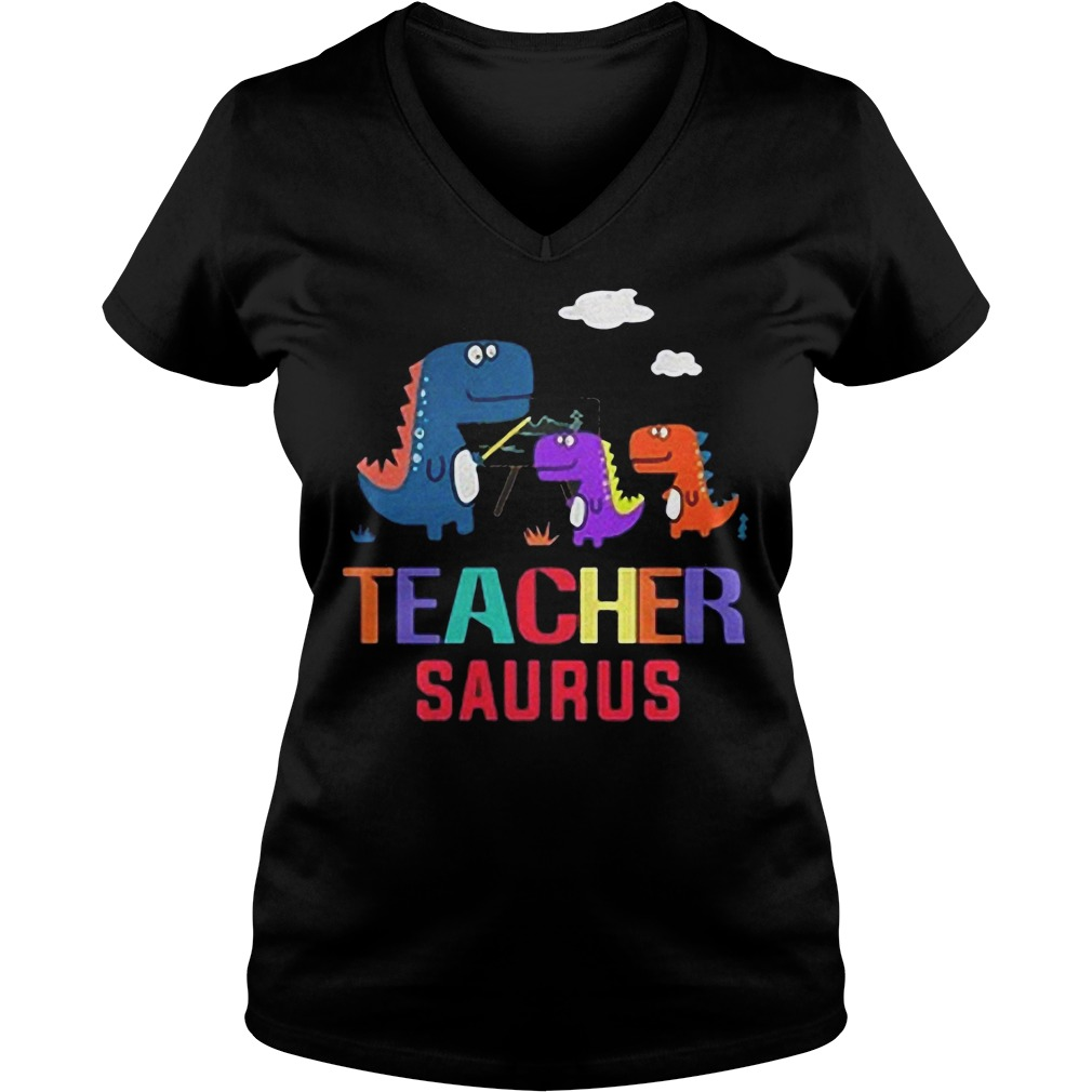 Dinosaurus Teacher Saurus shirt Ladies V-Neck
