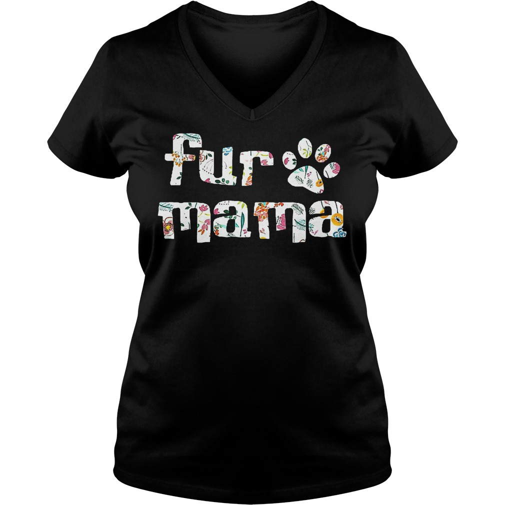 Fur Mama Paw's Dog T-Shirt Ladies V-Neck