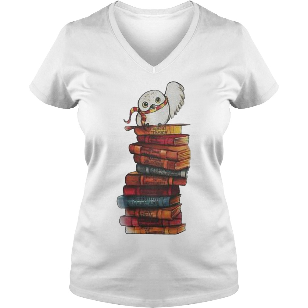 Harry Potter - Owl And Books Shirt Ladies V-Neck