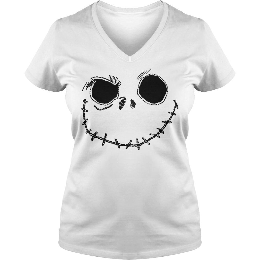Jack Skellington Ringer shirt Ladies V-Neck