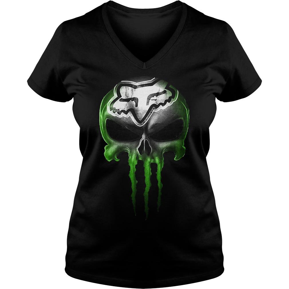 Motocross Green Skull Ladies V-Neck