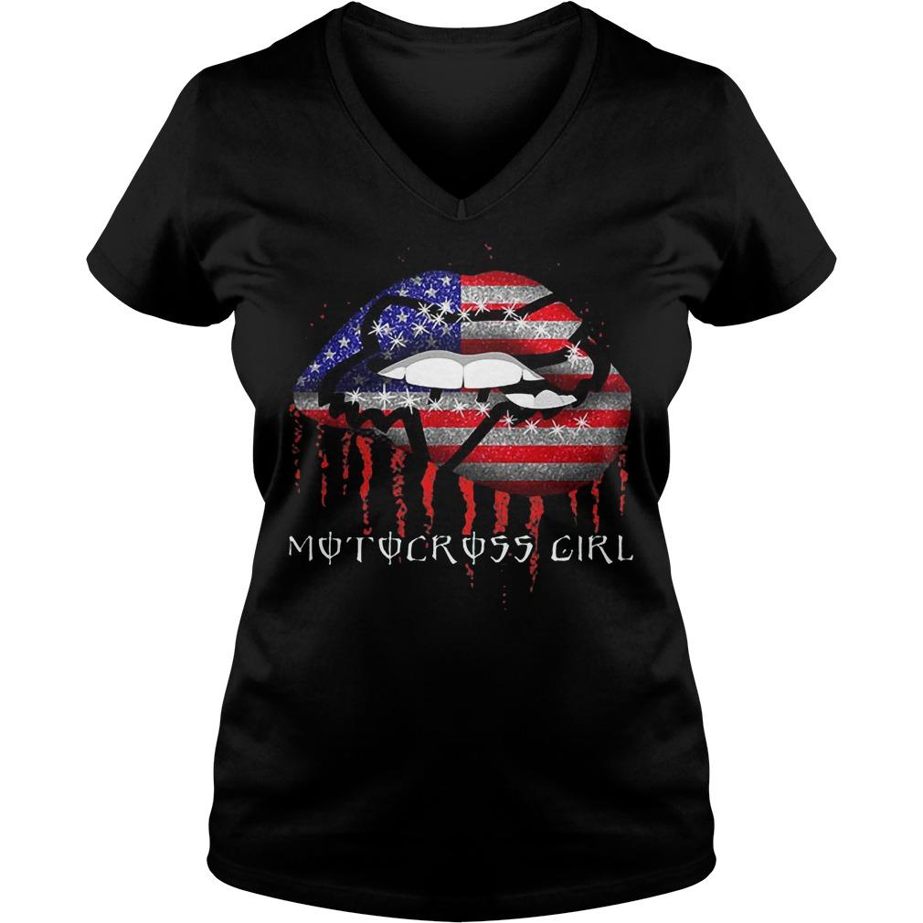 Motocross girl lips shirt Ladies V-Neck