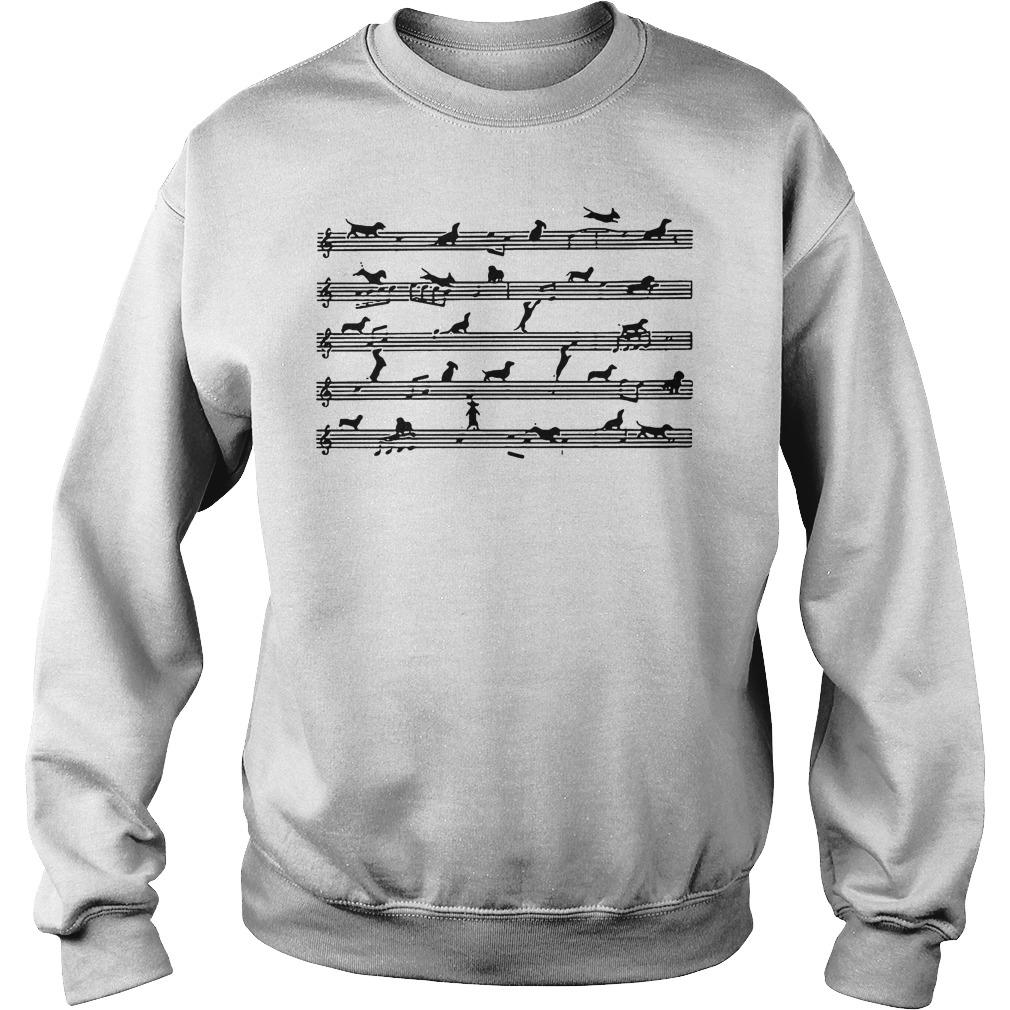 Musical Staff Dachshund Melodious Staves Shirt Sweatshirt Unisex