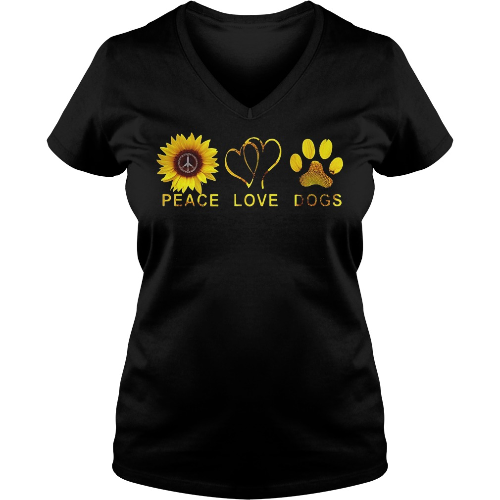 Sunflower Peace Love Dog Shirt Ladies V-Neck