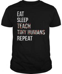 Teacher Hippie Eat Sleep Teach Tiny Humans RepeatShirt