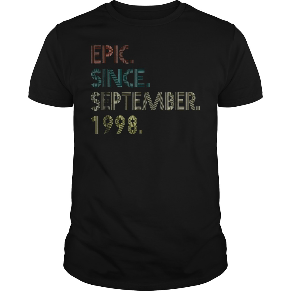 20th Birthday gift 20 Years Old Epic Since September 1998 shirt
