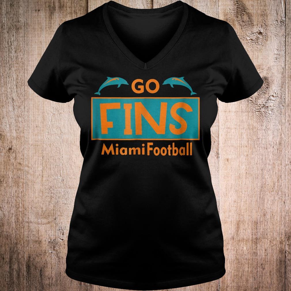 Go Fins Miami Football dolphin shirt Ladies V-Neck