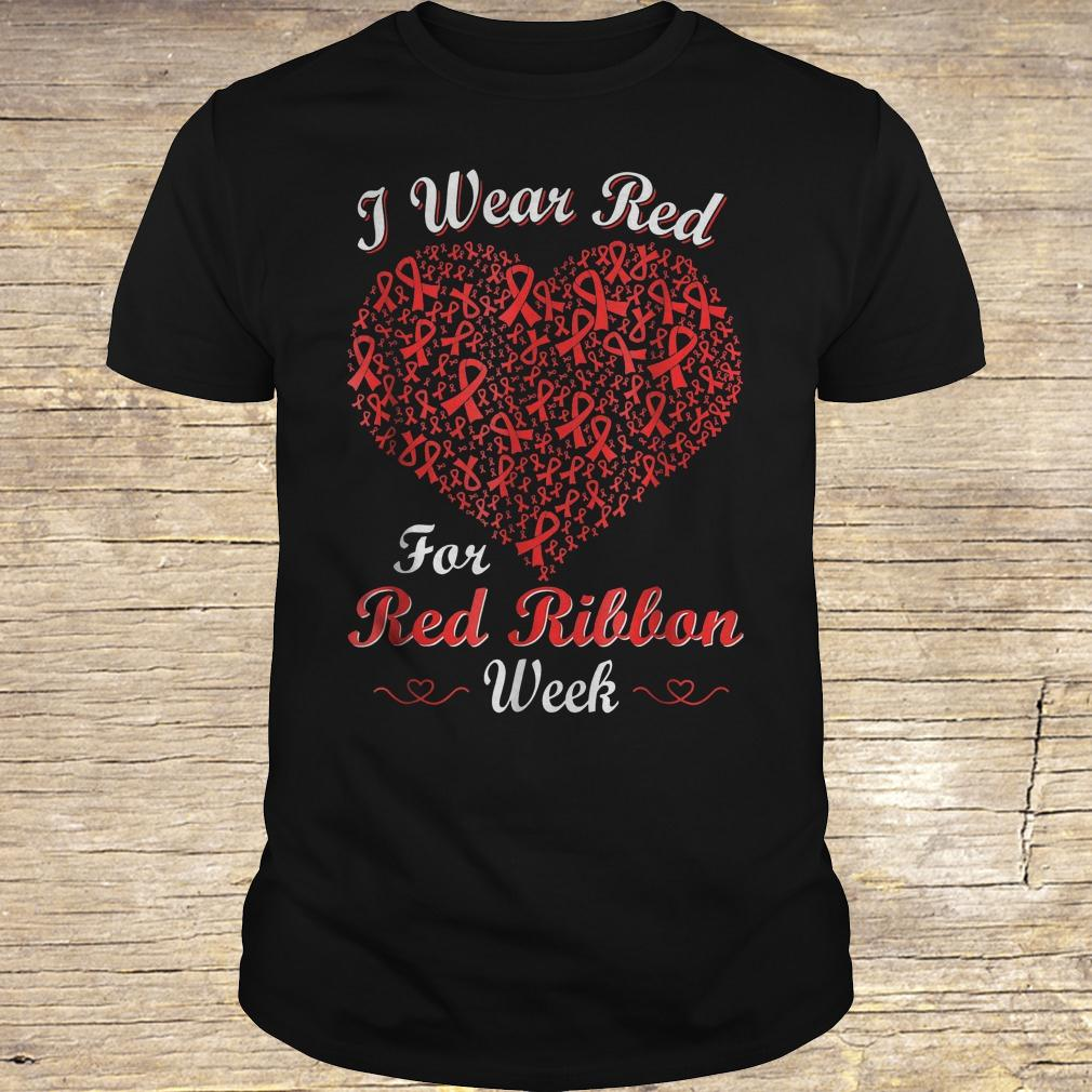 I wear red for red ribbon week love support shirt Classic Guys / Unisex Tee