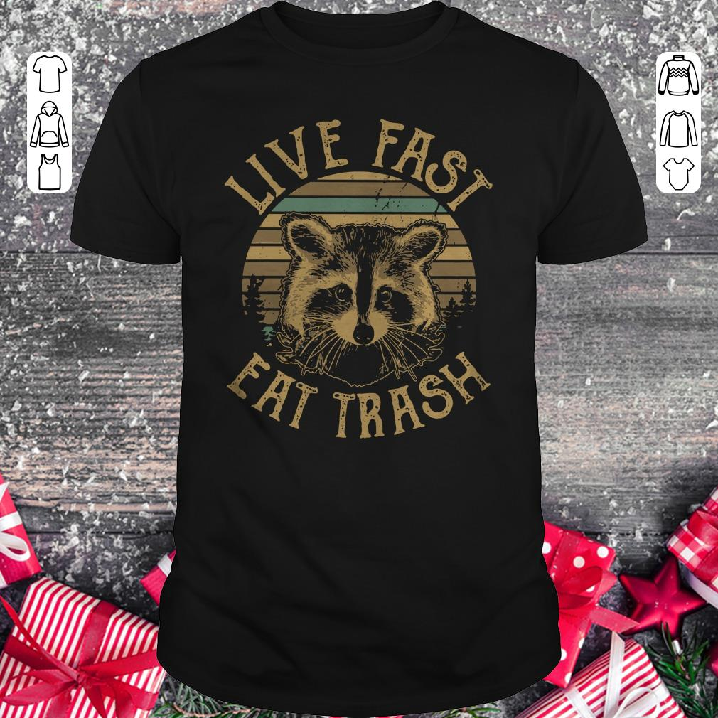 Awesome Raccoon Sunset Camping Live Fast Eat Trash Shirt Classic Guys Unisex Tee 1.jpg