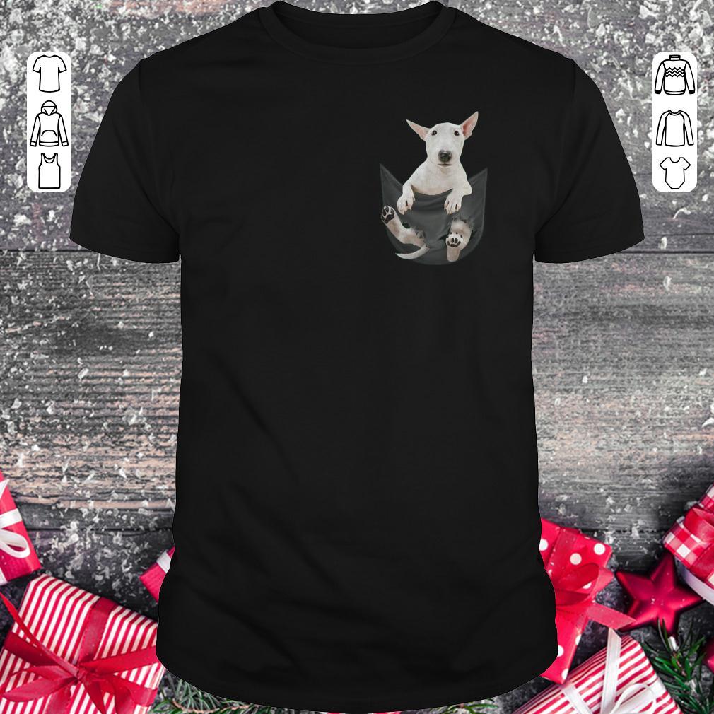 Bull Terrier inside black Tiny Pocket shirt
