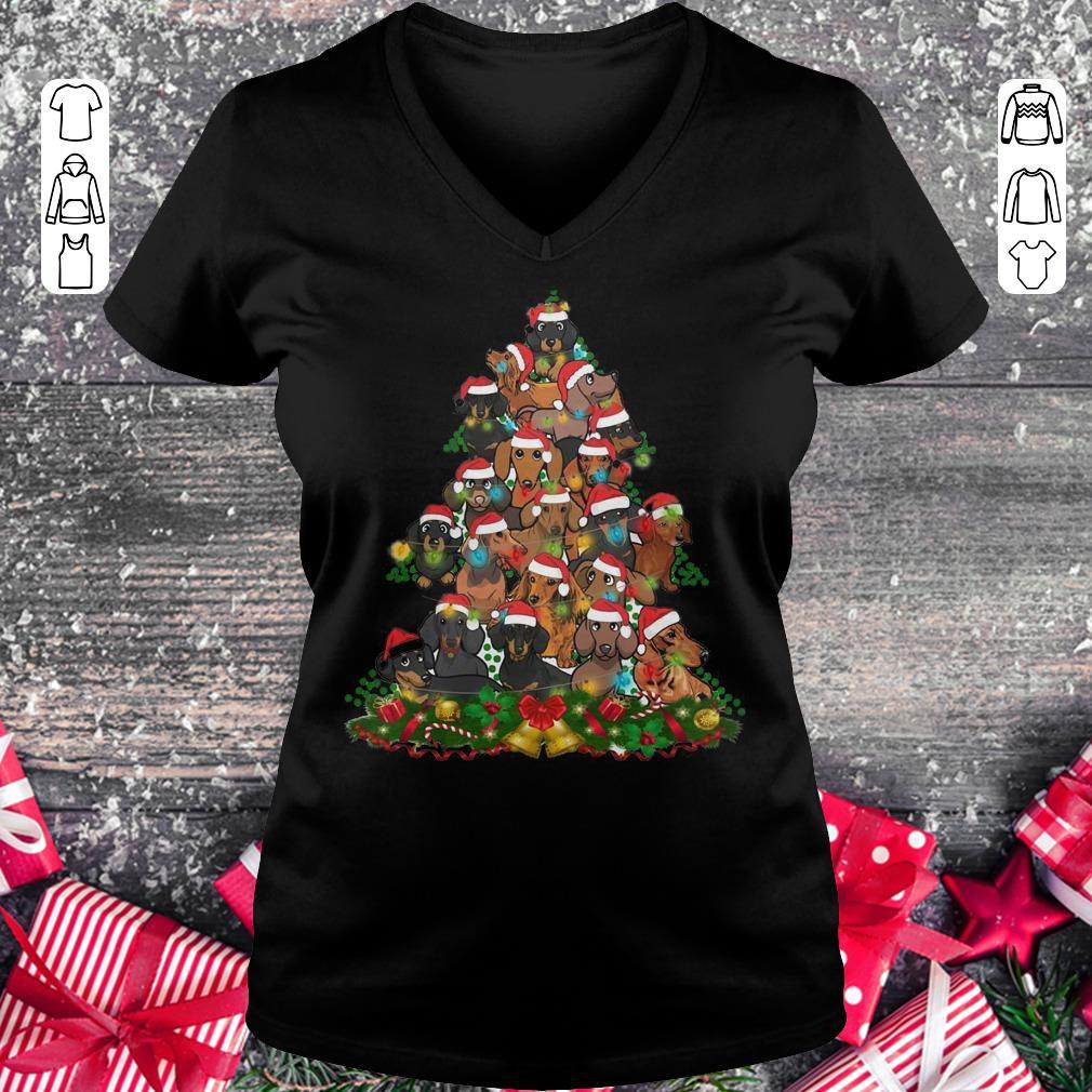 Funny Dachshunds Christmas Tree shirt Ladies V-Neck