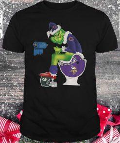 Funny Grinch Santa Chicago Bears Minnesota Vikings Toilet Green Bay Packers Shirt Classic Guys Unisex Tee 1.jpg