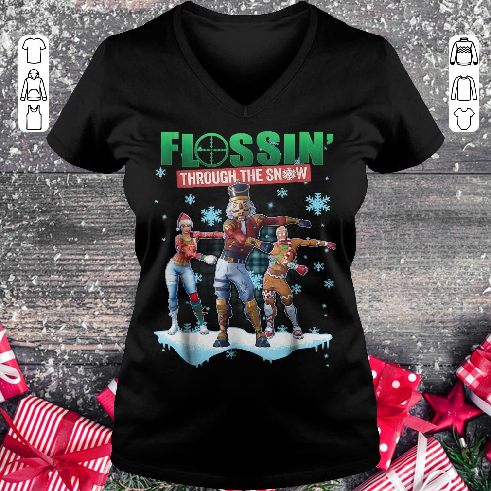 Hot Fortnite Flossin Through the snow shirt Ladies V-Neck