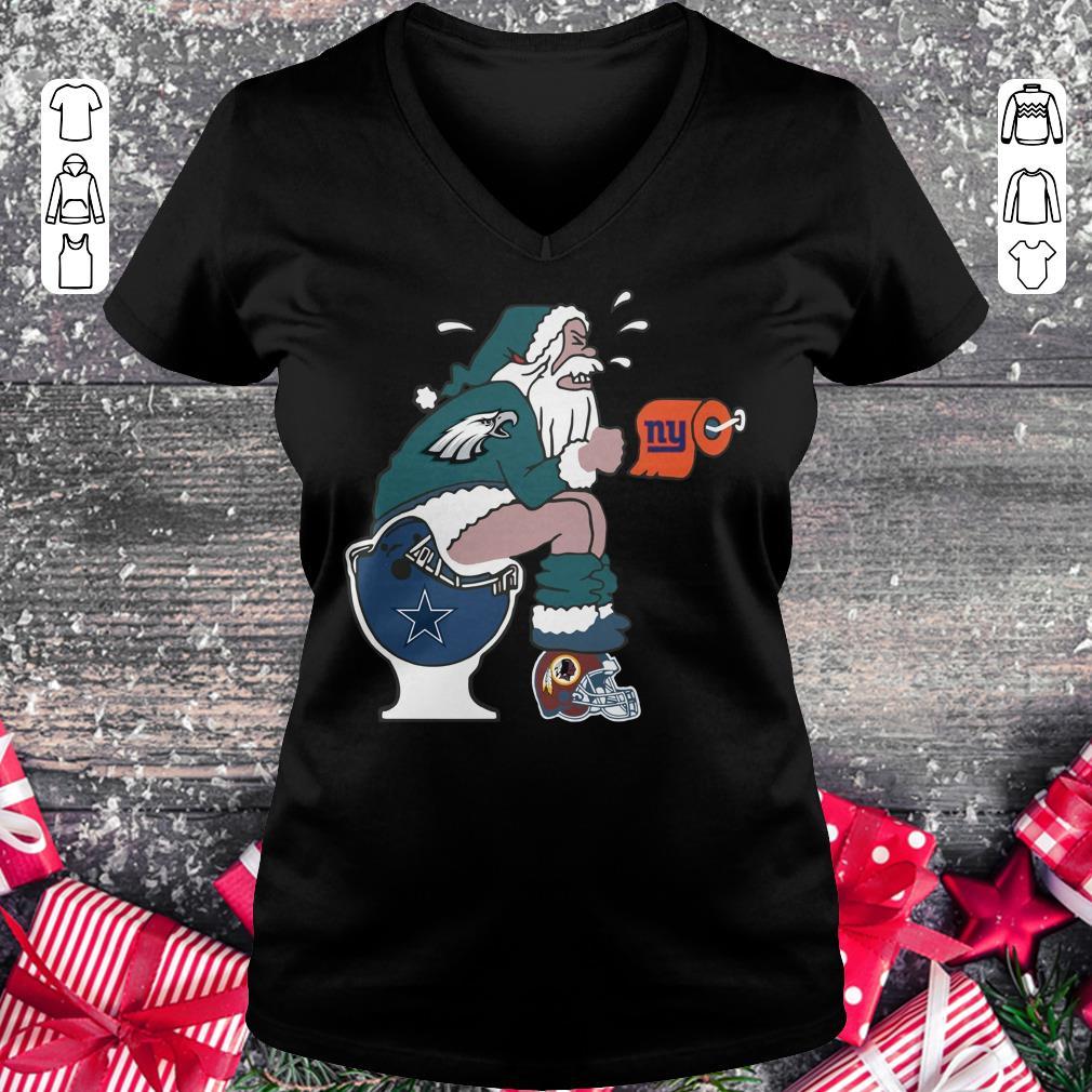 Hot Philadelphia Eagles Santa Dallas Cowboys Toilet shirt Ladies V-Neck