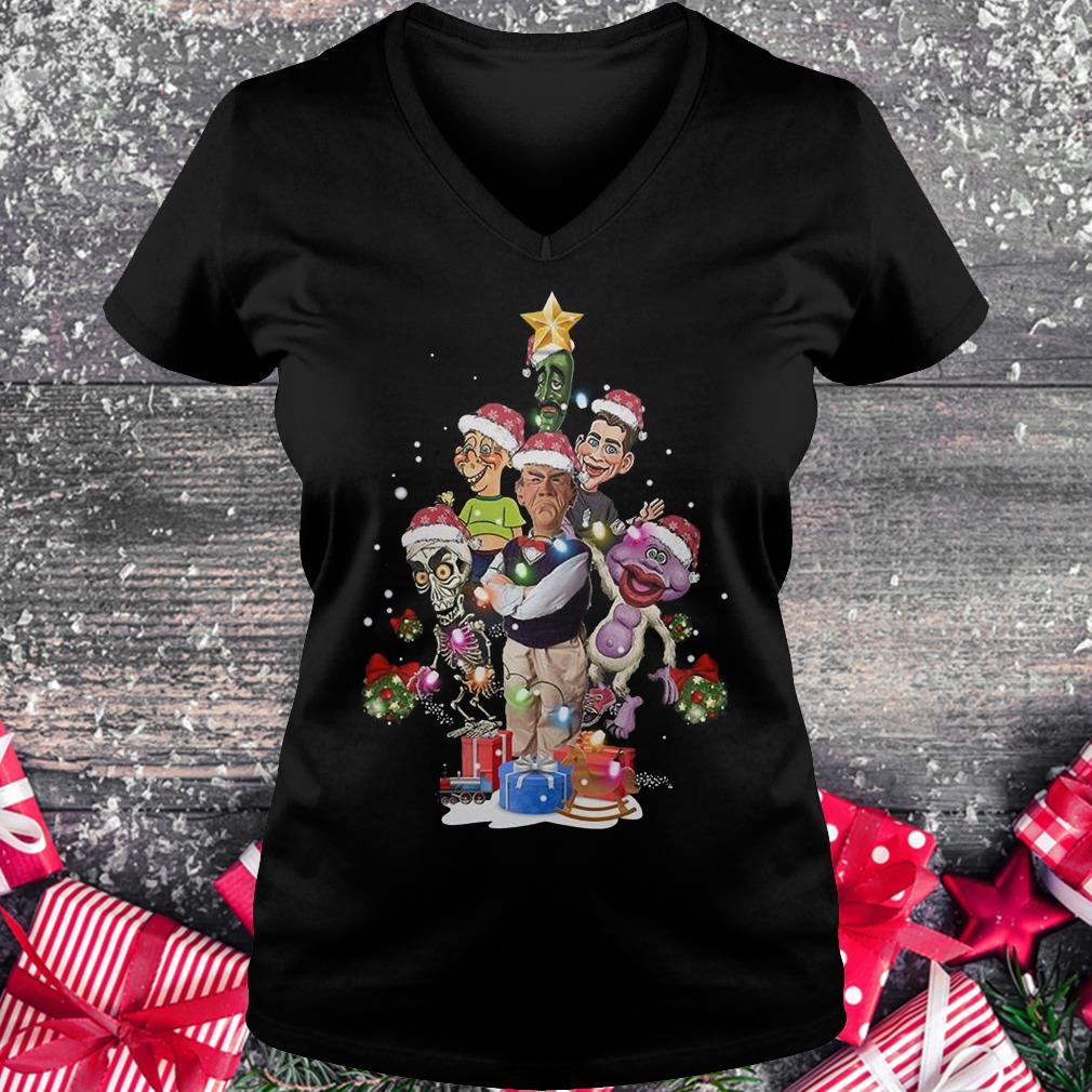Jeff Dunham Christmas Tree shirt Ladies V-Neck