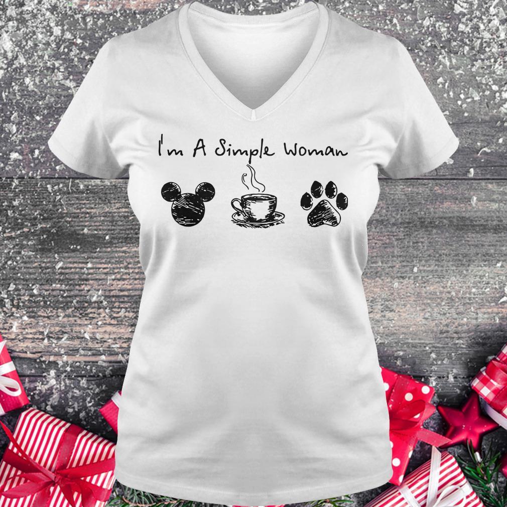 Original I'm a simple woman I like Mickey Minnie Mouse Coffee and Dog shirt Ladies V-Neck