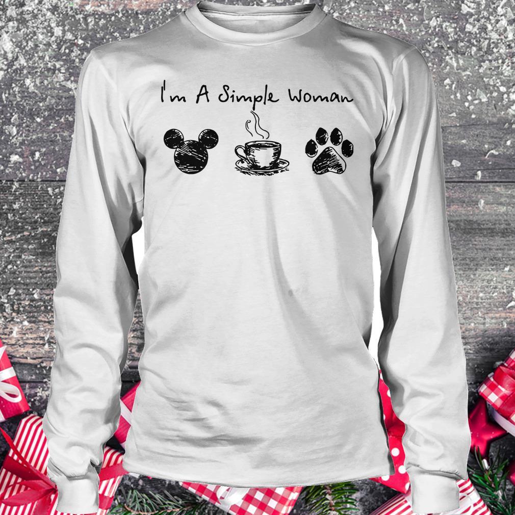 Original I'm a simple woman I like Mickey Minnie Mouse Coffee and Dog shirt Longsleeve Tee Unisex