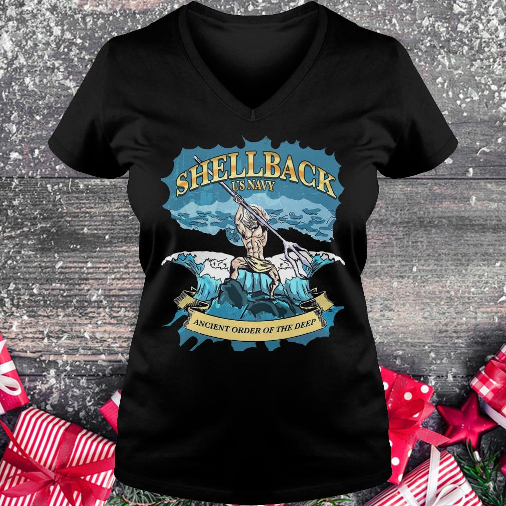 Original Shellback Us Navy Ancient Order Of the deep shirt Ladies V-Neck