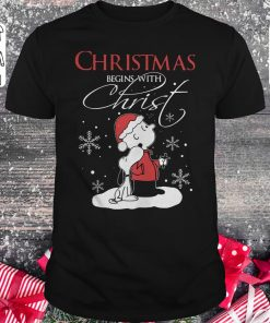 Premium Snoopy And Charlie Brown Christmas Begins With Christ Shirt Classic Guys Unisex Tee 1.jpg
