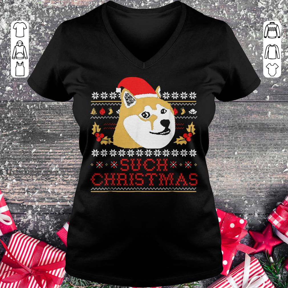 Pretty Shiba Inu Such Christmas Sweater shirt Ladies V-Neck
