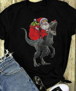 Santa Claus Riding A Velociraptor Blue Dinosaurs Christmas Shirt 1 1.jpg