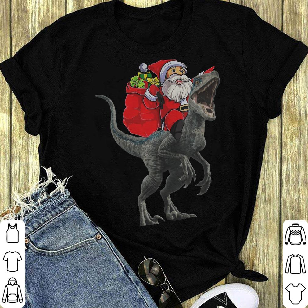 Santa Claus Riding A Velociraptor Blue Dinosaurs Christmas Shirt 1 1.jpg