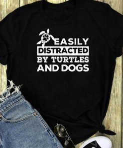 Easily Distracted By Turtles And Dogs Paw Shirt 1 1.jpg