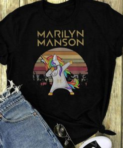 Vintage Unicorn Dabbing Marilyn Manson Retro Sunset Kid Shirt 1 1.jpg
