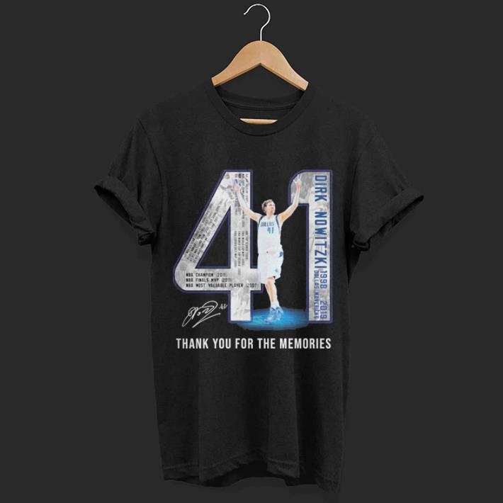 41 Dirk Nowitzki Jerseys signature thank you for the memories shirt