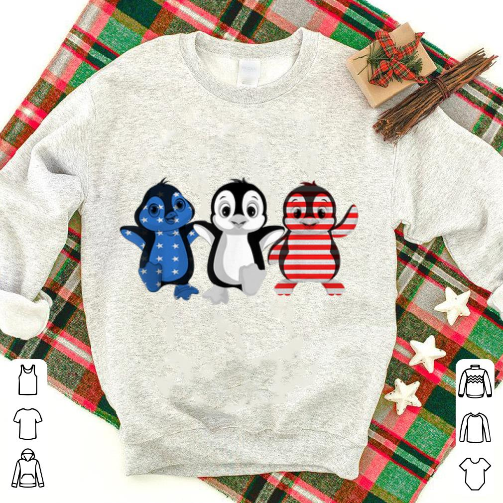 Blue White Red Penguins Us Flag 4th July Patriot-ic shirt
