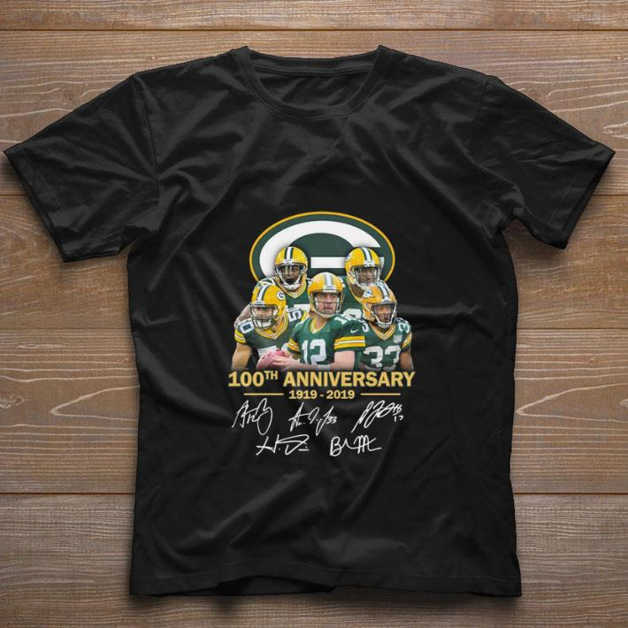 huge selection of a9eb6 a5e79 Funny Green Bay Packers 100th anniversary 1919-2019 signatures shirt