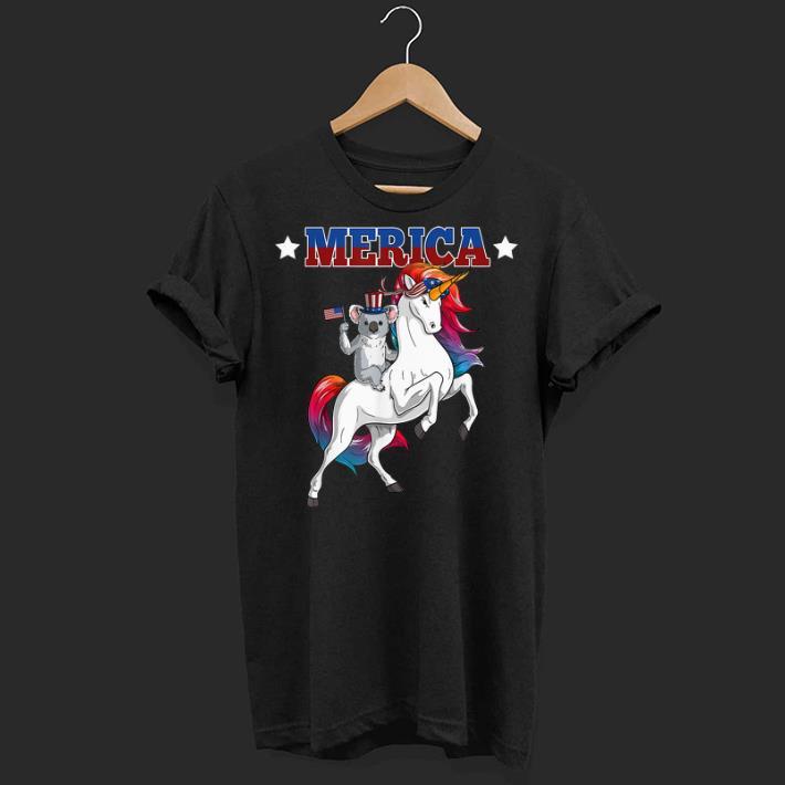 Merica Koala Unicorn Usa American Flag 4th Of July Patriotic shirt
