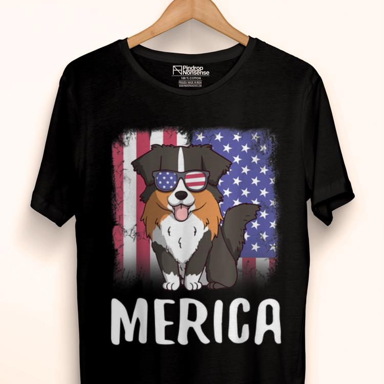 Original Merica Australian Shepherd Dog Usa American Flag 4th Of July Shirt