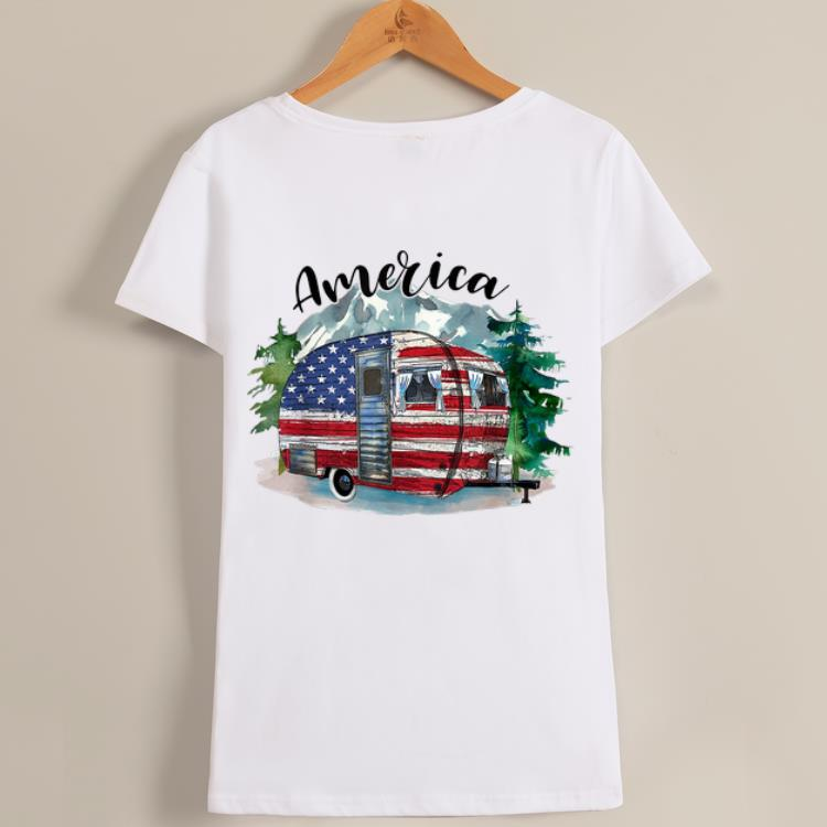 Pretty Camping America Flag July Of 4th Happy Independence Day shirt