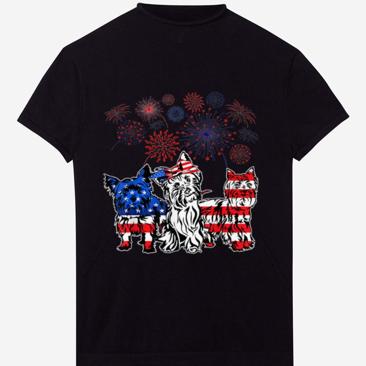 Pretty Yorkie 4th Of July America Flag Firework Happy Independence Day shirt