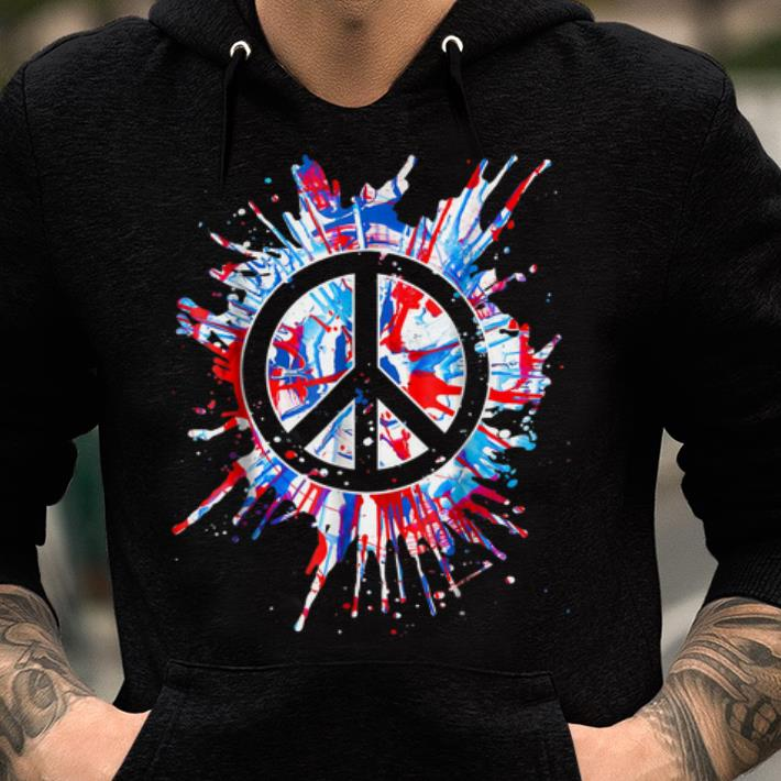 Top Peace Sign Red White Blue Patriotic Hippie Tie Dye shirt