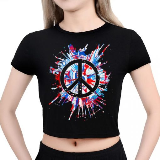 Top Peace Sign Red White Blue Patriotic Hippie Tie Dye shirt 3 1 510x510 - Top Peace Sign Red White Blue Patriotic Hippie Tie Dye shirt