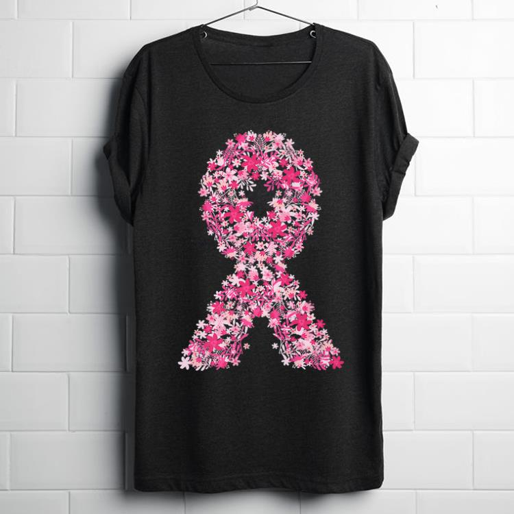 Hot Pink Flowers Ribbon Breast Cancer Awareness shirt