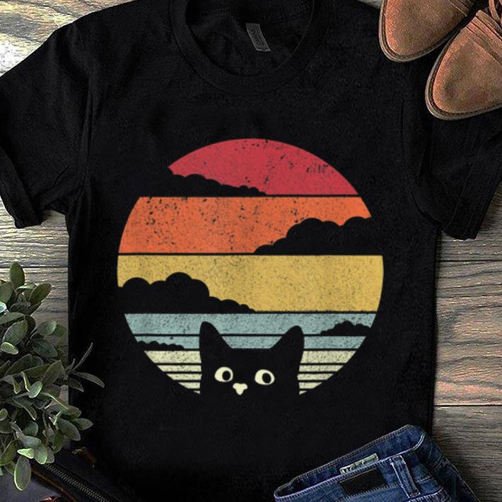 Hot Retro Vintage Sunset Cat My Cat Looking On You shirt