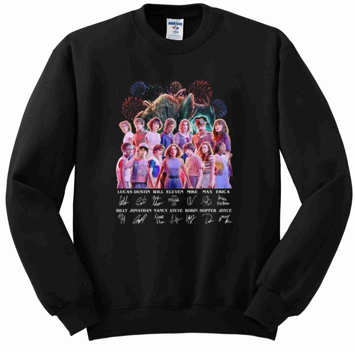 Hot Stranger Things all character signatures Lucas Dustin Will Eleven shirt