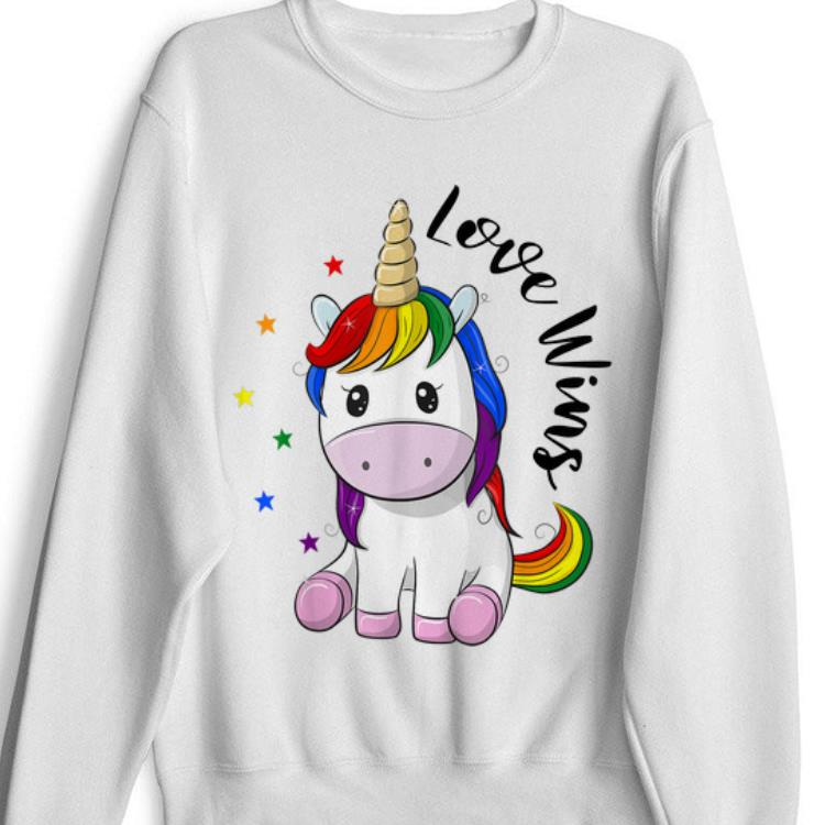 Pretty Love Wins LGBT Gay Lesbian Pride Month Rainbow Unicorn shirt