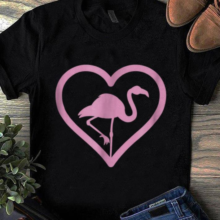 Pretty Pink Flamingo Heart - Wading Bird Species Lover shirt