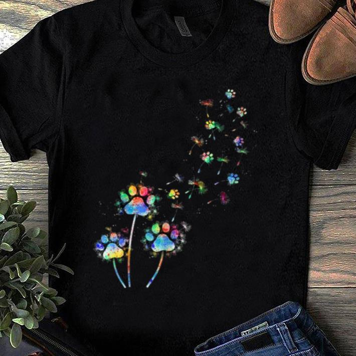 Awesome Dog Flower Colourful Dandelion Paw Dog Lover shirt