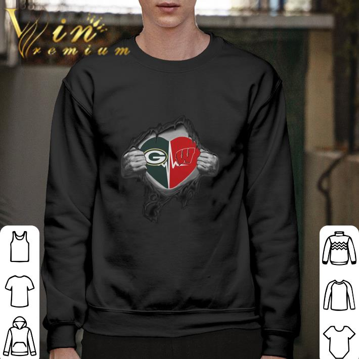 Funny Green Bay Packers inside my heart Wisconsin Badgers shirt
