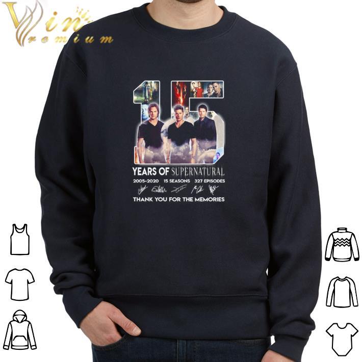 Hot 15 years of Supernatural 2005-2020 15 seasons signatures 327 ep shirt