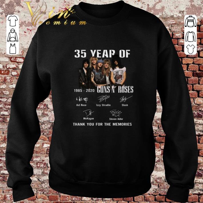 Hot 35 Year Of Gun N' Roses 1985-2020 Thank You For The Memories shirt