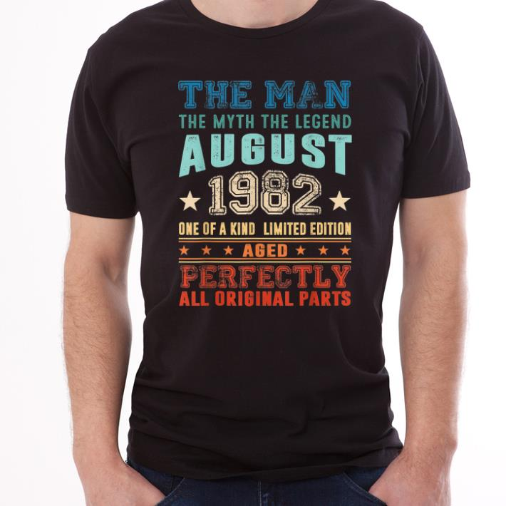 Official Legend August 1982 Retro Vintage 37th Birthday shirt