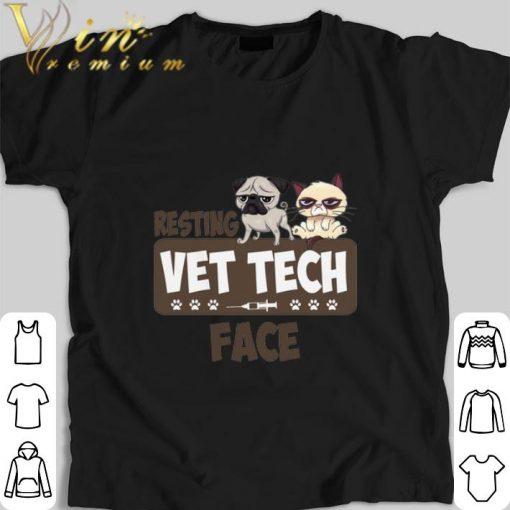 Official Pug and Grumpy cat resting vet tech face shirt 1 1 510x510 - Official Pug and Grumpy cat resting vet tech face shirt