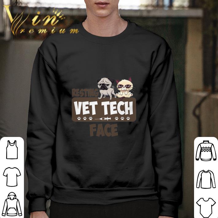 Official Pug and Grumpy cat resting vet tech face shirt