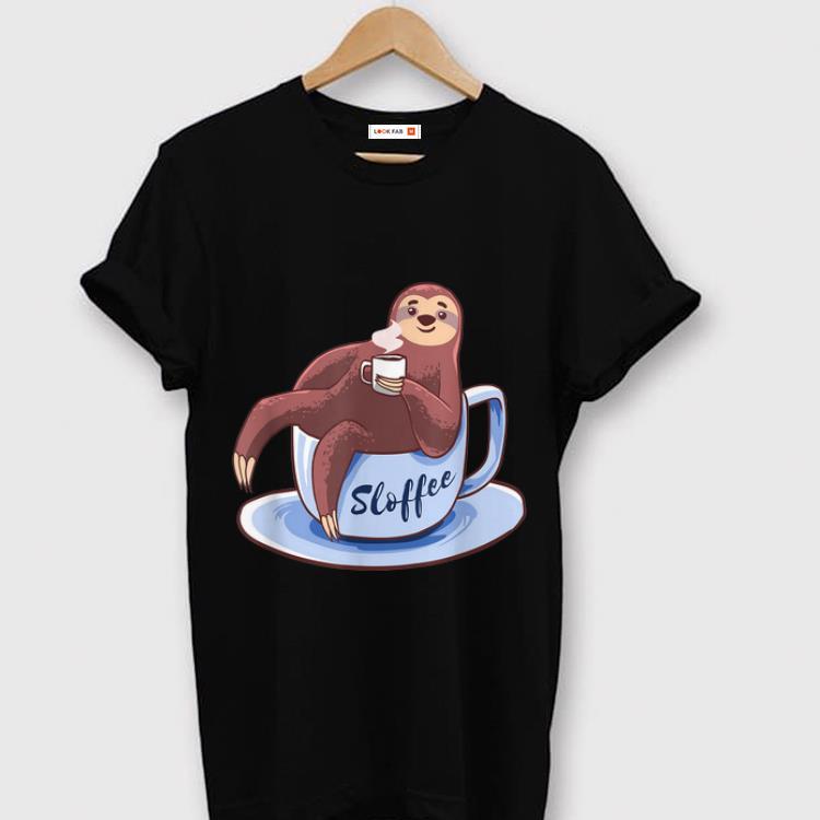 Original Sloffee Sloth Lying On A Cup Of Coffee Sloffee Meme shirt